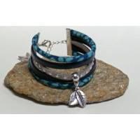 Bracelet Manchette Liberty Cordon Liberty Glenjade turquoise