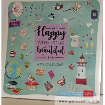 Calendrier 2019 LEGAMI 18x18 cm Be Happy