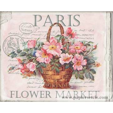 """Carte artisanale Vintage """"Paris Marché aux Fleurs"""""""