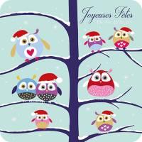 Carte double Joyeuses Fêtes L'arbre aux chouettes