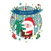 Carte découpée au laser Joyeux Noël Le Père Noël