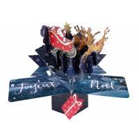 """Carte Pop Up de Voeux """"Joyeux Noël Le Traineau du Père Noël"""""""