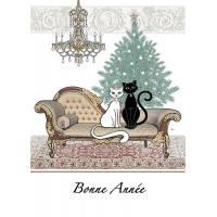 Carte double Bonne Année Couple Chats blanc et noir