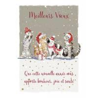 Carte double Meilleurs Voeux Chats sous la neige avec dorure