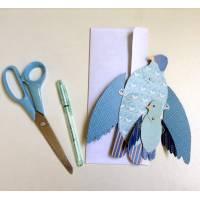 """Carte Vintage animée """"L'oiseau bleu et son Bébé"""""""