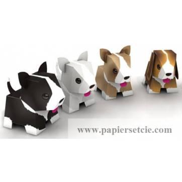 """Jouet en Papier """"4 bébés chiens"""" à découper et monter soi-même"""