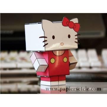 """Jouet en Papier """"Hello Kitty"""" à découper et monter soi-même"""