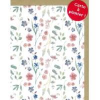 Carte à planter Hannah Marchant Fleurs roses et bleues, graines Fleurs des champs