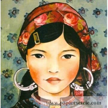 Carte d'art Gwenaëlle Trolez Claudia Tremblay Jeune Femme du Vietnam