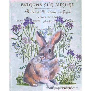 Carte artisanale Vintage de Pâques le Lapin