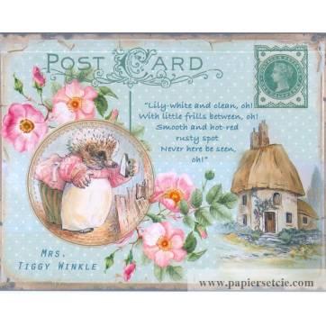 Carte artisanale Vintage de Pâques Mrs Tiggy Winkle