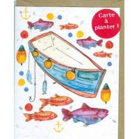 Carte à planter Hannah Marchant Poissons et Barques graines d'Aneth