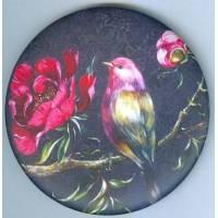 Magnet rond Gwenaëlle Trolez décor de Sophie Addé Oiseau Rose