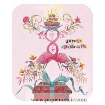 """Carte format """"Ecran"""" Izou Joyeux Anniversaire Flamingos"""
